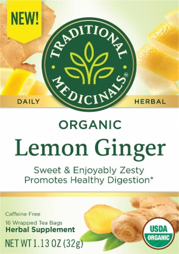Traditional Medicinals Organic Lemon Ginger Tea Bags Perspective: front