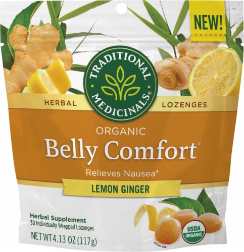 Traditional Medicinals Organic Lemon Ginger Belly Comfort Herbal Lozenges Perspective: front