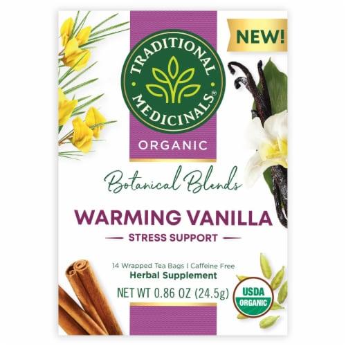 Traditional Medicinals Botanical Blends Warming Vanilla Stress Support Herbal Tea Perspective: front