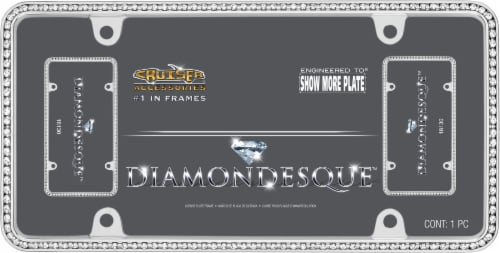 Cruiser Accessories Diamondesque License Plate Frame - Silver/Clear Perspective: front