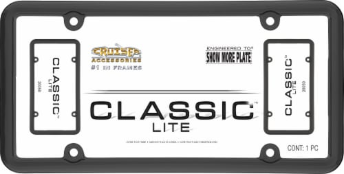 Cruiser Accessories Classic Lite License Plate Frame - Black Perspective: front