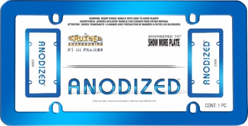 Cruiser Accessories Anodized License Plate Frame - Blue Perspective: front