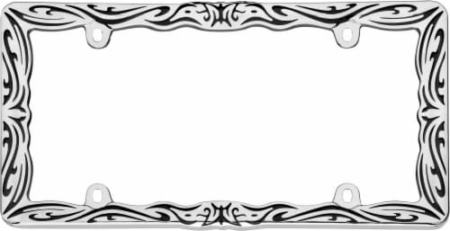 Cruiser Accessories Tribal II License Plate Frame - Chrome/Black Perspective: front