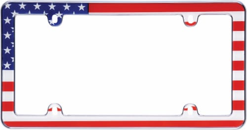 Cruiser Accessories USA Flag License Plate Frame - Red/White/Blue Perspective: front