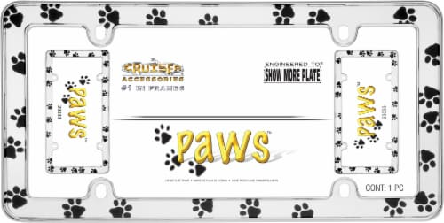 Cruiser Accessories Paws License Plate Frame - Chrome Perspective: front