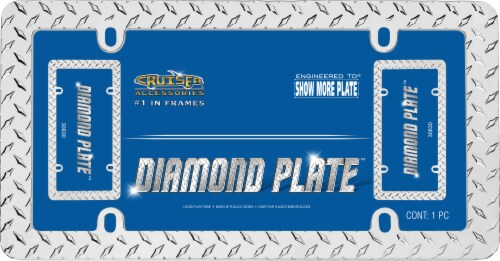 Cruiser Accessories Diamond Plate License Plate Frame - Silver Perspective: front