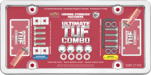 Cruiser Accessories Ultimate Tuf Combo License Plate Frame - Silver/Clear Perspective: front