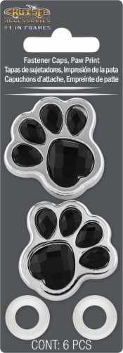 Cruiser Accessories Paw Print Fastener Caps Perspective: front