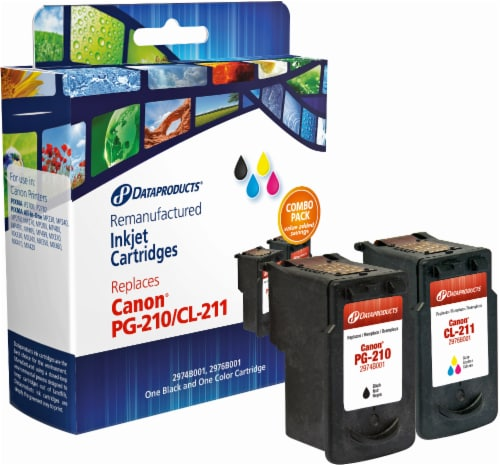 Dataproducts Remanufactured Ink Cartridges for Canon PG-210/CL-211 - Black/Tri-Color Perspective: front