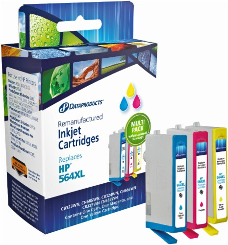 Dataproducts Remanufactured Ink Cartridges for HP 564XL - Cyan/Magenta/Yellow Perspective: front