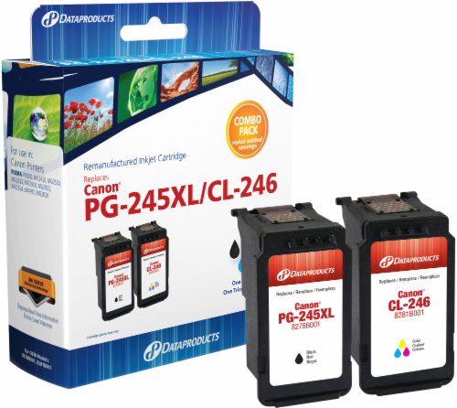 Dataproducts Remanufactured Ink Cartridge for Canon PG-245XL/CL-246 Combo Pack Perspective: front