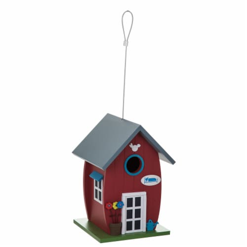 Bambeco Whimsy Cottage Wood Bird House - Red Perspective: front