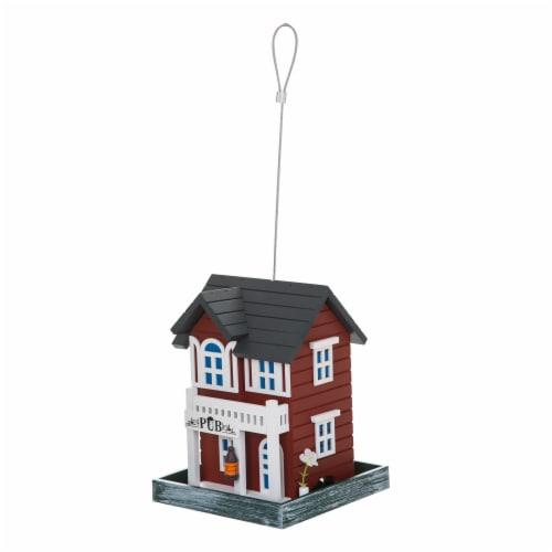 Bambeco Pub Wood Bird Feeder - Red/White Perspective: front
