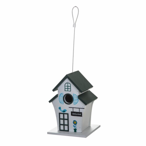 Bambeco Tiered Roof Wood Bird House - White/Black Perspective: front