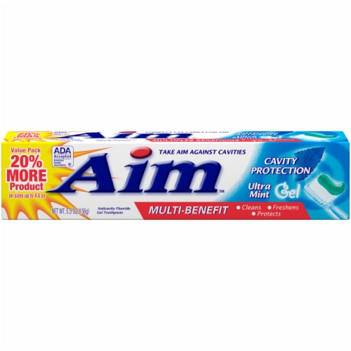 Aim Multi-Benefit Cavity Protection Ultra Mint Gel Toothpaste Perspective: front
