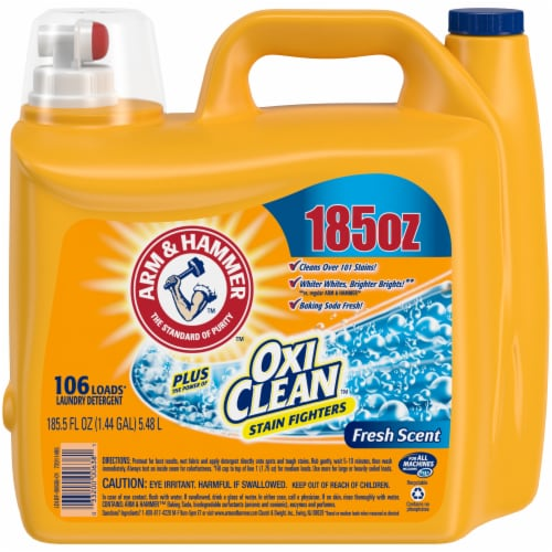 Arm & Hammer Plus Oxi Clean Fresh Scent Liquid Laundry Detergent Perspective: front