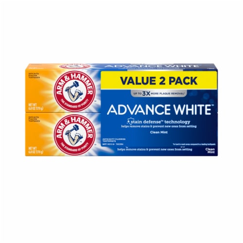 Arm & Hammer Advance White Extreme Whitening Clean Mint Toothpaste Twin Pack Perspective: front