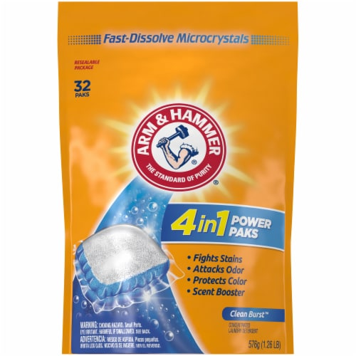 Arm & Hammer 4-in-1 Clean Burst Scent Concentrated Laundry Detergent Power Paks Perspective: front