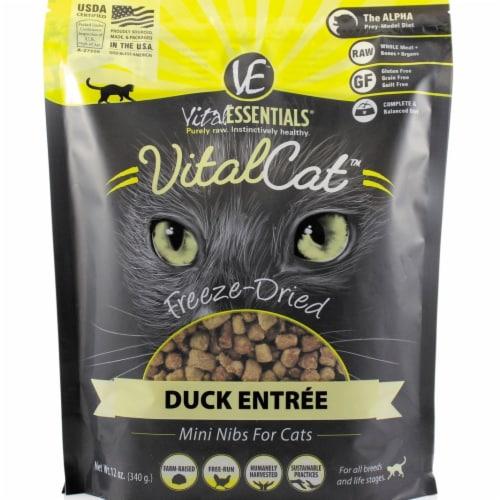 Vital Essentials 93200922 12 oz Freeze-Dried Duck Mini Nibs Entree Cat Food Perspective: front