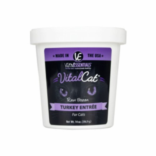 Vital Essential 93200950 14 oz Tub Frozen Cat Food Turkey Perspective: front