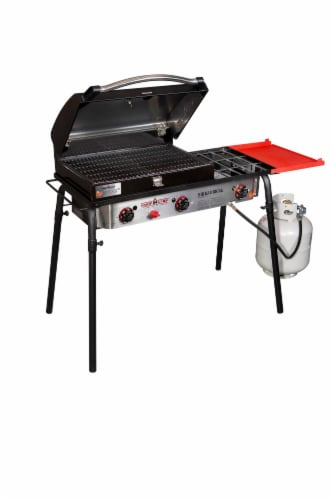 Camp Chef Three Burner Stove with Grill Box Perspective: front