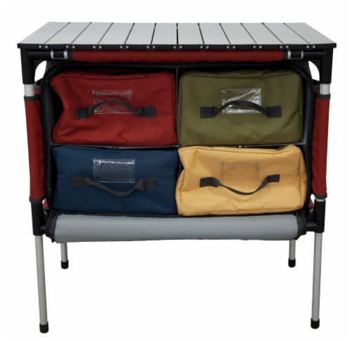 Camp Chef Sherpa Mountain Series Table with four storage compartments and retractable legs Perspective: front