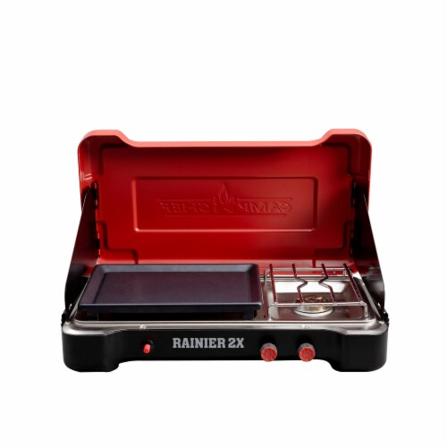 Camp Chef Rainier Camp Stove with Two Burner Grill/Griddle Combo Perspective: front