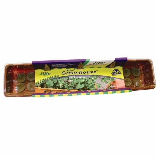 Jiffy 24-Cell Windowsill Greenhouse Seed Starter Kit J324 Perspective: front