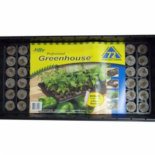 Jiffy 16-Cell 11 In. W. x 11 In. L. Seed Starter Greenhouse Kit with Superthrive Perspective: front