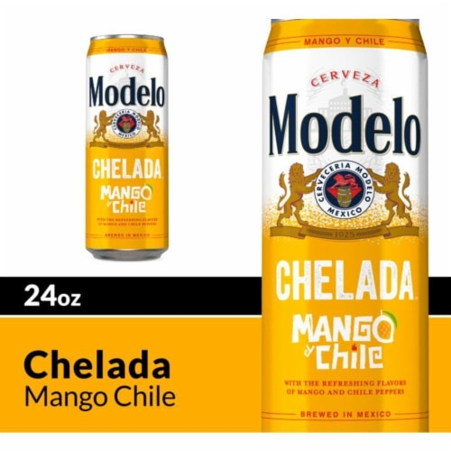 Modelo Chelada Mango y Chile Imported Beer Perspective: front