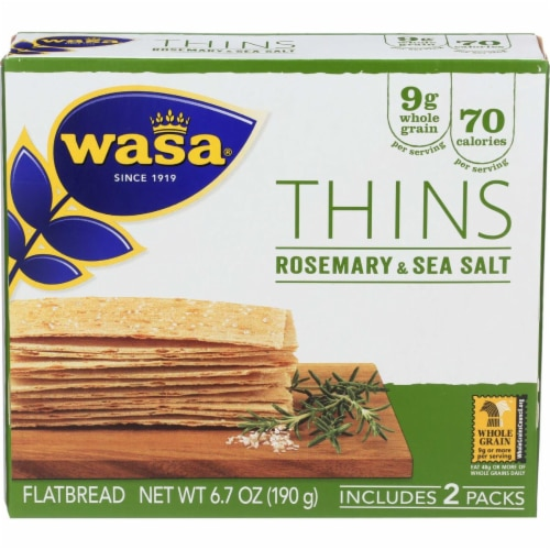 Wasa Thins Rosemary & Sea Salt Flatbread Perspective: front