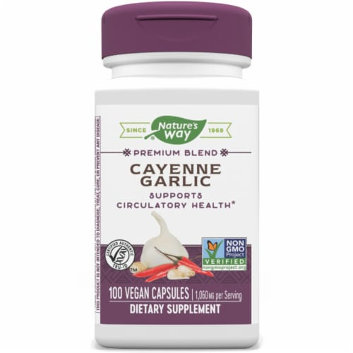 Nature's Way Cayenne & Garlic Capsules Perspective: front