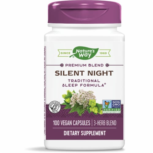 Nature's Way Silent Night with Valerian Capsules Perspective: front
