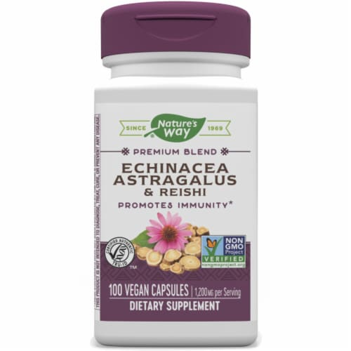 Nature's Way Echinacea Astragalus & Reishi Dietary Supplement Vegan Capsules 1200mg Perspective: front