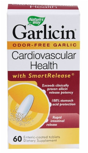 Nature's Way Garlicin Cardiovascular Health Smart Release Enteric-Coated Tablets Perspective: front