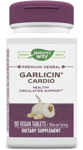 Nature's Way Garlicin Cardio Vegan Tablets 350mg Perspective: front