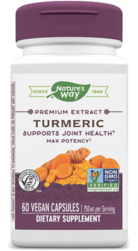 Nature's Way Turmeric Capsules 750mg Perspective: front