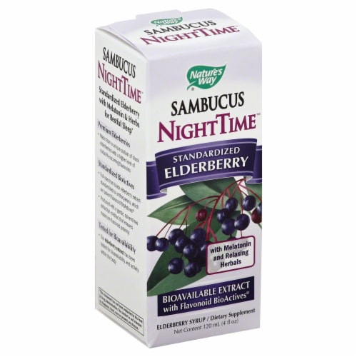 Nature's Way Sambucus Nighttime Standardized Elderberry Syrup Perspective: front