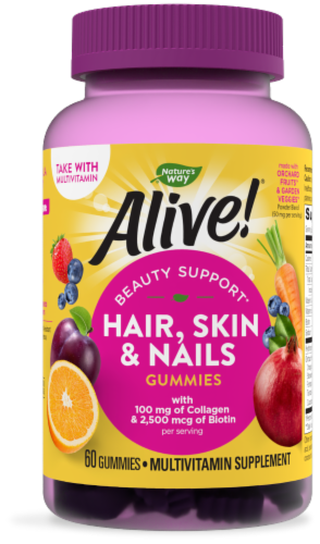 Nature's Way Alive! Hair Skin & Nails Gummies Perspective: front
