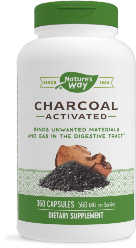 Nature's Way Activated Charcoal Capsules 280mg Perspective: front