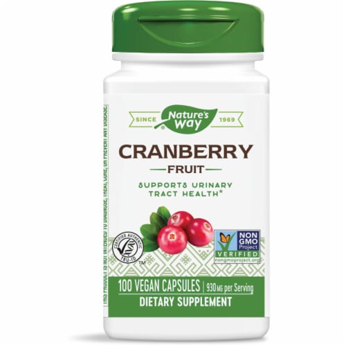 Nature's Way Cranberry Fruit Dietary Supplement Capsules 930mg Perspective: front