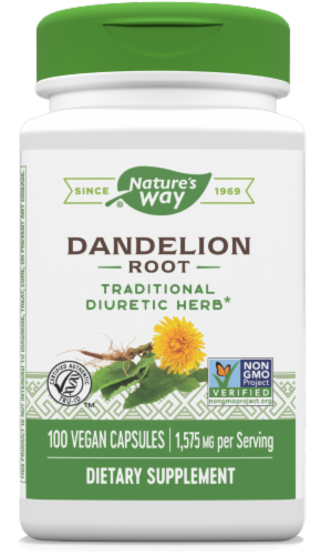 Nature's Way Dandelion Root Capsules 1575 mg Perspective: front