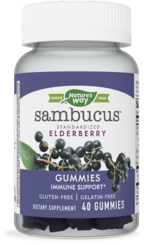 Nature's Way Sambucus Standardized Elderberry Immune Support Gummies Perspective: front