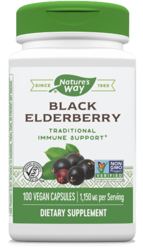 Nature's Way Elderberry Berries & Flowers Capsules 1150 mg Perspective: front