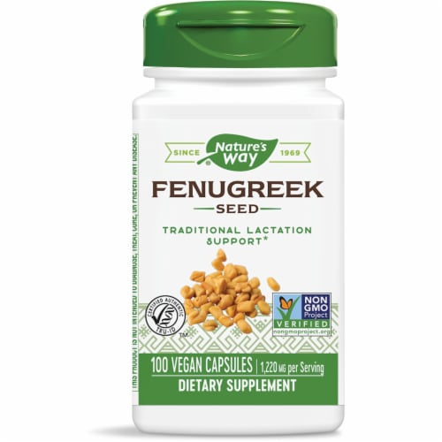 Nature's Way Fenugreek Seed Capsules 1220mg Perspective: front