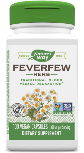 Nature's Way Feverfew Leaves Capsules 380 mg Perspective: front