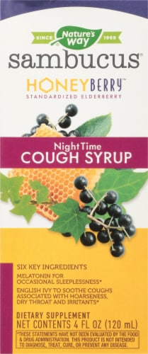 Nature's Way Sambucus Honey Berry Night Time Cough Syrup Perspective: front