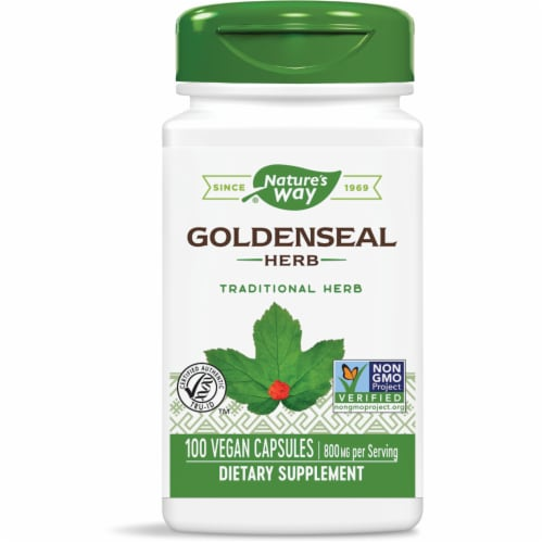 Nature's Way Goldenseal Herb Capsules 800mg Perspective: front