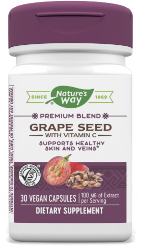 Nature's Way Grape Seed Standardized Capsules Perspective: front