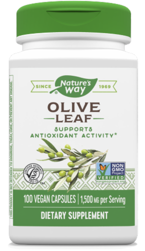 Nature's Way Olive Leaf Capsules 500mg Perspective: front